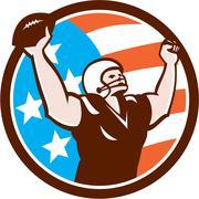 american football celebrating touchdown retro - stock illustration