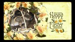Happy Easter video card, vintage style. Baby bunnies cuddling and spring flowers Stock Footage