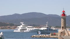 ST TROPEZ YACHT AND LIGHT HOUSE Stock Footage