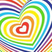 Three-dimensional volumetric valentines day card. colorful rainbow on white Stock Illustration