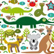 animals australia: snake, turtle, crocodile, alligator, kangaroo, dingo. seam - stock illustration