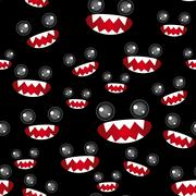 seamless pattern. monsters eyes and toothy mouth on black background - stock illustration