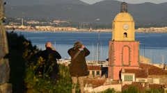 DAWN VIEW OVER ST TROPEZ Stock Footage
