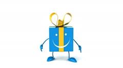 fun blue gift jumping - stock footage