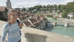 Woman tourist in Bern during Switzerland travel Stock Footage
