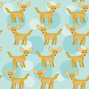 Africa fennec fox seamless pattern with funny cute animal on a blue backgroun Piirros