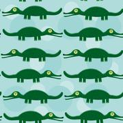 Funny green crocodile seamless pattern with cute animal on a blue background Stock Illustration