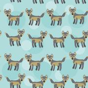 Gray wolf seamless pattern with funny cute animal on a blue back background Piirros