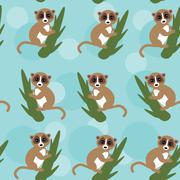Seamless pattern lemur on green branch on blue background. vector Stock Illustration
