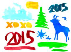 Symbols of the new year 2015 goat, spruce, numbers, paint stains. vector Piirros