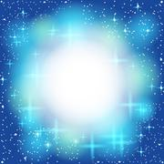 blue abstract background, light, shiny, star. frame for text. vector - stock illustration