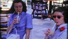 1608 - ladies have a cocktail at the country club - vintage film home movie Stock Footage