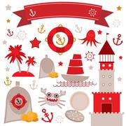 vintage scrap nautical set cute sea objects. red, gray, yellow. vector - stock illustration