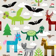 Seamless pattern with funny dragons, bats, unicorn, horse, deer, bird, wolf. Piirros