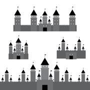 set black castle on white background. vector - stock illustration