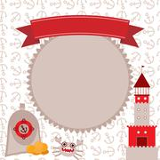 Vintage scrap nautical card cute sea objects collection red and gray. vector. Stock Illustration