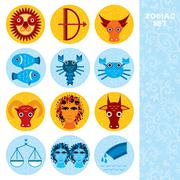 funny blue and orange zodiac sign icon set astrological, vector - stock illustration