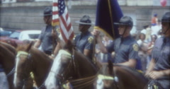 New York Street Parade  70s 1974 16mm Police Soldiers on Horse Stock Footage