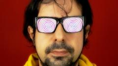 Hypnotech glasses spiral hypnosis - stock footage
