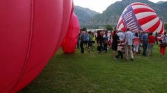 Families at a hot air balloon freedom festival in provo utah Stock Footage