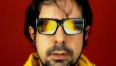 Hypnotech glasses witness destruction - stock footage