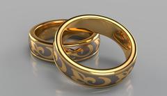 Pair of golden rings - stock illustration