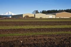 Fertile fields and large warehouses oregon. Stock Photos