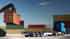 Container Handler unloading a Truck in Port Terminal. No Logos. - stock footage