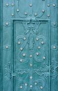 Wrought iron door background green Stock Photos