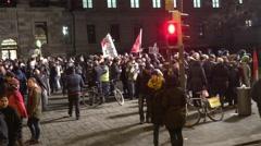 4k Pegida - Bragida demonstration and anti-demo crowd Braunschweig Stock Footage