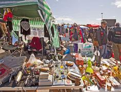 Munich, open air flea market - Riesenflohmarkt - stock photo