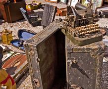 open air flea market, old typewriter - stock photo