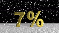 Gold 7 percent symbol in falling snow Stock Footage