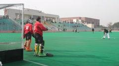 Hockey Goal Keeper Practicing Stock Footage