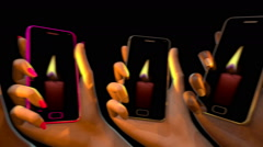Hands raising smart phones with a flickering candle, 3D animation Stock Footage