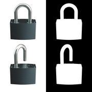 Locked and unlocked metallic locks Stock Illustration