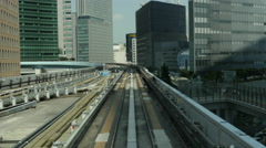 Time Lapse POV of the Tokyo Monorail System and Skyline -  Tokyo Japan Stock Footage