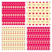 Love seamless pattern set Stock Illustration
