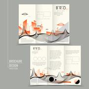 futuristic tri-fold brochure design - stock illustration