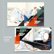 Stylish half-fold brochure design Stock Illustration