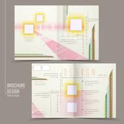 Stock Illustration of modern half-fold brochure design set