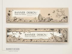 Vintage banner template design Stock Illustration
