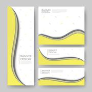 abstract wavy banner template design - stock illustration
