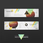 geometrical banner brochure template design - stock illustration