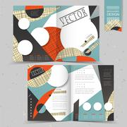 Collage style half-fold template design Stock Illustration