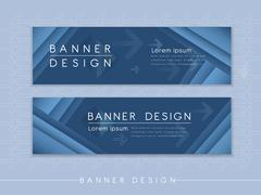 Modern banner template design with streak element Stock Illustration