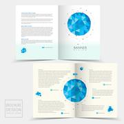 Half-fold brochure template with geometric blue crystal elements Stock Illustration
