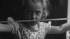 England 1950: little girl close up - stock footage