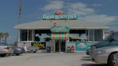 Entrance to Cocoa beach pier Stock Footage