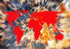 exploding world map - stock illustration